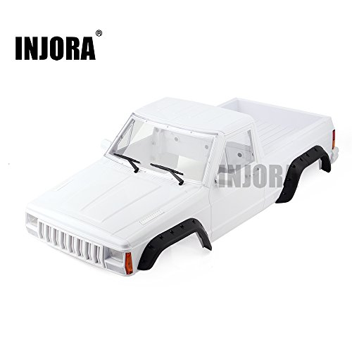 INJORA RC Auto Karosserie 313mm Radstand Cherokee Pickup Truck Car Shell für 1/10 RC Crawler Axial SCX10 SCX10 II 90046 90047 (Weiß) (Rc Truck Shell)
