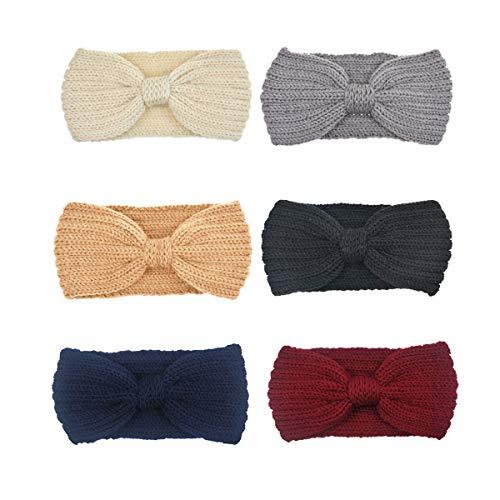 152aa661dd24 DRESHOW 6 Piezas Crochet Arco Turbante Knit Diadema Mujer Invierno Vendas  Elasticas Anchas Tejida Lana Cintas