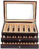 Scatola per 34 penne, in legno, con porta penne stilografiche, con vassoio nero