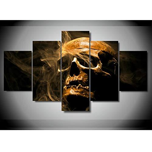 alicefen 5 - Horror - schädel Rauch Skelett leinwand drucken Bild Mauer Kunst 5 Pieces schautafeln Plakat für Wohnzimmer - Bild