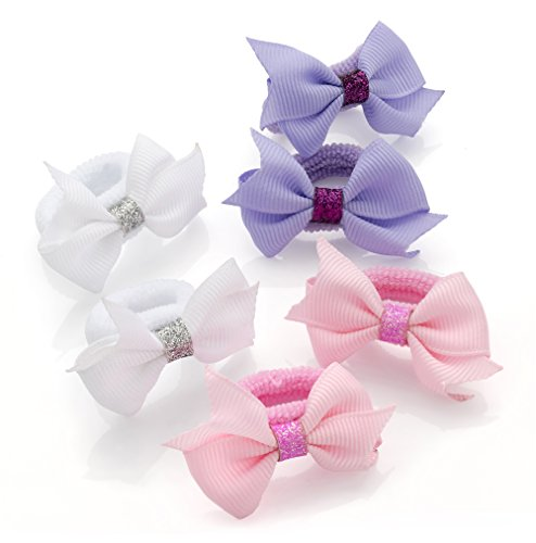 6 Pastel Colour and Glitter Grosgrain Ribbon Bow Ponio Set Hair Elastics