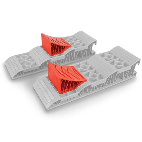 H-Kampa 2er Set Unterlegkeile aus Robustem Kunststoff ideal für Reisemobile • Wohnmobil Keil Standkeil Ausgleichskeil Auffahrkeil Wohnwagen