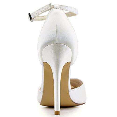ElegantPark HC1602 Chic Escarpins Satin Femme Sangle Cheville Talon Haut Aiguille Bout Pointu D'orsay Chaussures de Mariee Ceremonie Ivoire
