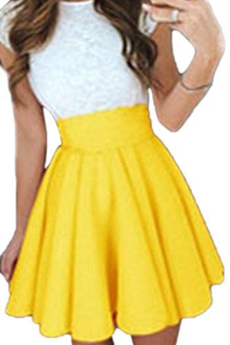 Frau Sommer Casual Elastische High Taille Gefaltete Ruched Ausgestellte Rock Yellow L