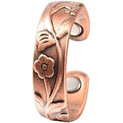 YINOX Anillo de Cobre magnético para el diseño Floral Ajustable de la Mujer de la Artritis Sano (CPR-0937)