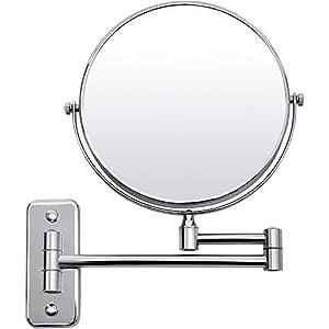 SONGMICS 10x Vergrößerungsspiegel, um 360° schwenkbarer Kosmetikspiegel, wandmontierter runder Badezimmer-Rasierspiegel…