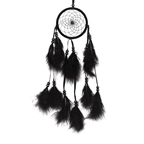serliy Windspiele Dream Catcher Circular Feder hängen Handwerk Handgemachtes Haus hängen Handwerk (Schwarz)