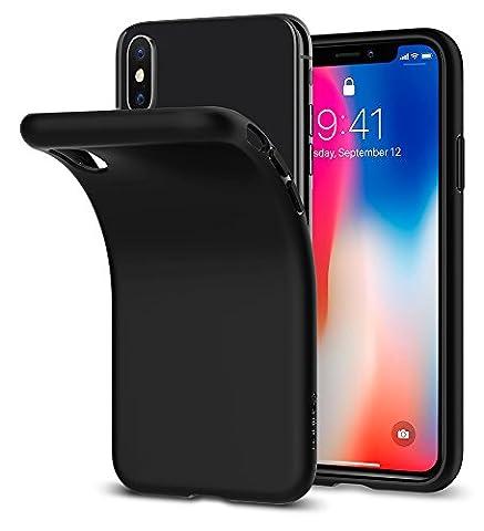 Coque iPhone X, Spigen® [Liquid Crystal] Ultra Fine TPU Silicone [Noir Matte] Souple Touché Doux, Adaptation Parfaite Housse Etui Coque pour Apple iPhone X (2017) - (057CS22119)