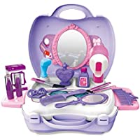 Toyshine Carry Along Beauty Set Toy with Briefcase, Accessories, Purple