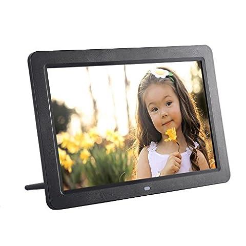 YKS 12 Zoll HD Digitaler Bilderrahmen TFT LED Breitbild Muitifunktionaler mit Kabellos Fernbedienung MP3- und Video-Wiedergabe