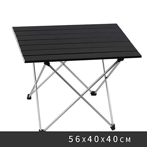 WXZB Klapptische und Stühle im Freien für ultraleichten Strandcamping, Grill, Freizeit- und Wild-Esstisch, Black Large [Aluminiumplatte]