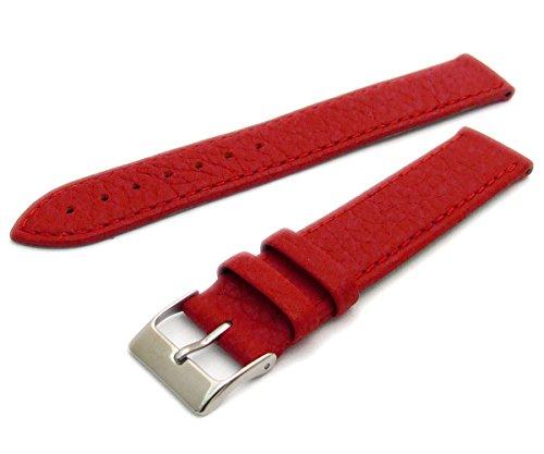 Super Soft Cow Hide Leder Uhrenarmband von Condor rot 20mm breit, chrom (Silber Farbe) Schnalle 348r.06