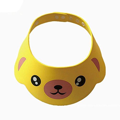 Einstellbare Baby Duschhaube Auslaufsicher Baby Bad Visier Kinder Bad Haar Waschen Schild Niedlichen Tier Dusche Hut Weiche Bequeme Baby Shampoo Kappe (Gelb)