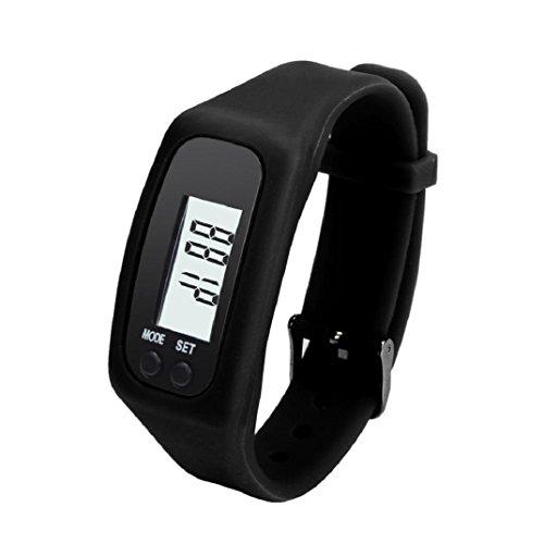 Amison Digital LCD Schrittzähler Sie Schritt zu Fuß Entfernung Kalorie Zähler Uhr Armband, Frauen Herren Kinder, schwarz