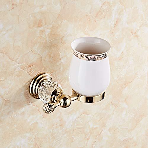 ROTOOY Zahnbürstenhalter Europäische Antike Goldmuster Keramik Doppel Tasse Zahnbürste Becherhalter Badezimmer Zubehör