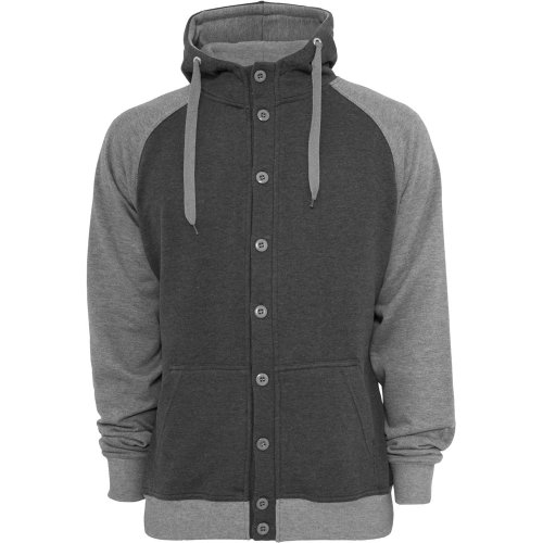 Urban Classics TB256 Light Fleece Button Hoody Felpa Cappuccio Bottoni Regular Fit Uomo (Charcoal/Grey, M)