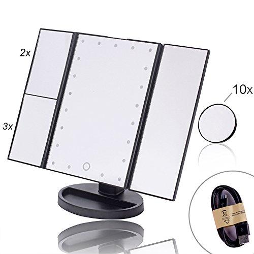 EPHVODI 21 LED Dreifach Gefalteten Kosmetikspiegel/Schminkspiegel/Schminkspiegel Mit 3x/2x/1x Abnehmbare 10x Vergrößerung Spot Spiegel, Touchscreen - Schwarz