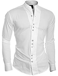 D&R Fashion Men's Modern Shirt with Single Cuffs and Grandad Collar Japan Style
