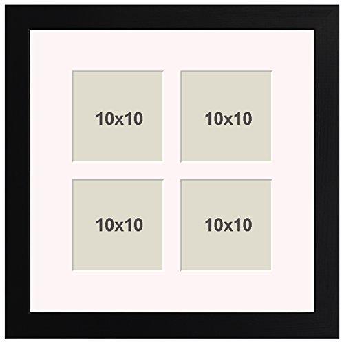 Bilderrahmen Holz 25x70 Schwarz mit Passepartout 11 Ausschnitte für Collagen