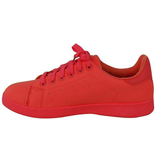 DONNE CON LACCI SCARPE SPORTIVE A STRAPPO CLASSICHE rétro Sport Sneakers Pump Taglia Rosso