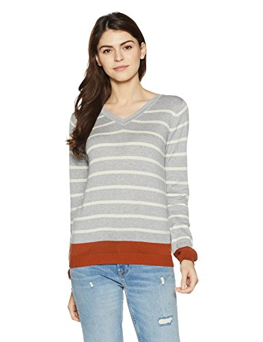 Allen Solly Women's Cotton Sweater (AWSW517U00314_Medium Grey with White_Large)