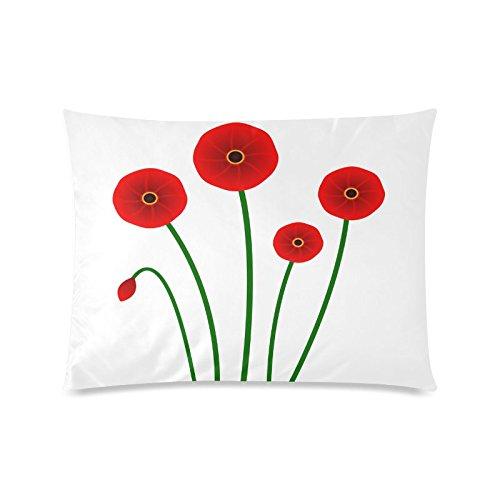 Beautiful Poppy Flower Custom Rechteck Sofa Home dekorativer Überwurf-Kissenbezug Baumwolle Polyester Twin Seite Druck 50,8x 66cm (Monster-truck-plüsch Werfen)