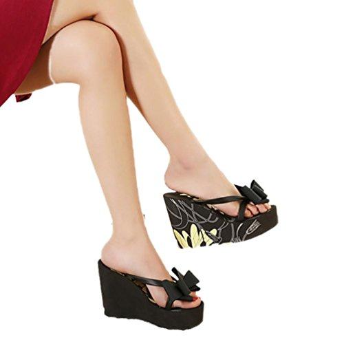 SHANGXIAN des femmes flip-flops Sandales compensées Black