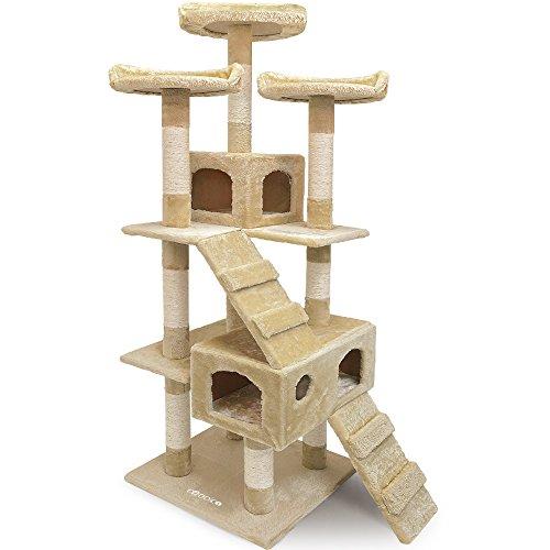 Deuba CADOCA® Katzenkratzbaum 175 cm I Stabiler Kratzbaum I 3 Aussichtsplätze 2 Höhlen I Katzenbaum Katze Katzenspielzeug I - Beige -