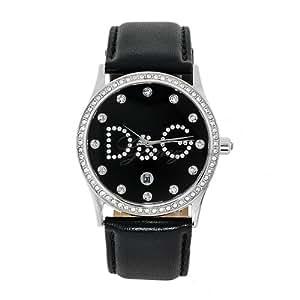 Dolce & Gabbana DW0008 Women's Analog Quartz Watch with Black Leather Strap