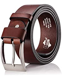 BeComfy Cinturón de cuero para Hombres - 100% cuero verdadero  37c95fa1ccc6