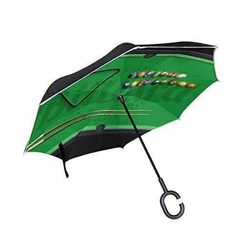 bennigiry Billard Poster Pool Hall Acht Ball Double Layer seitenverkehrt Regenschirme Rückseite Faltbarer Regenschirm von, winddicht UV-Schutz Big gerade Regenschirm für Auto Regen Outdoor mit C-förmigem - Hall Pool Bilder