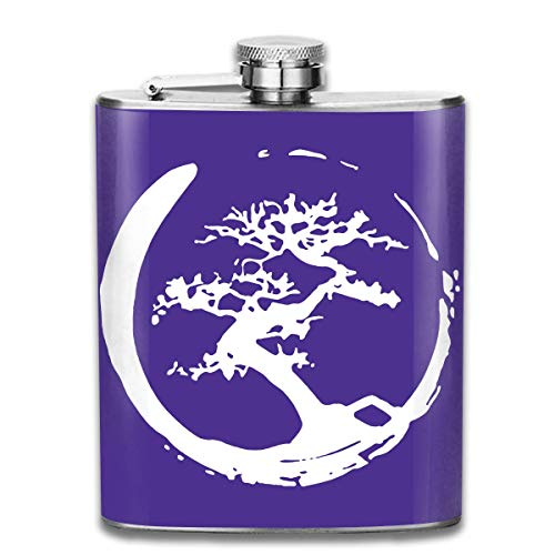dfegyfr Men and Women Thick Stainless Steel Hip Flask 7 OZ Bonsai Tree In Enso Circle Pocket Bottle for Drinking Liquor Vodka
