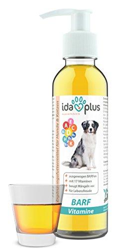 IdaPlus – BARF Multivitamin 17 in 1 | 200 ml für Hunde & Katzen | Enthält Vitamin A, B-Vitamine (B1, B2, B6, B12), C, D, D3, E, K und mehr | Versorgung für bis zu 200 Tage (Flüßig) (Multi Vitamin Mit Eisen Flüssig)