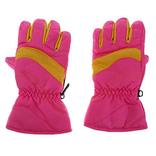 MagiDeal Kinder Ski Wasserdichte Handschuhe Winter Warm Outdoor Sporthandschuhe - Rosa, S (Plaid Ski-handschuhe)