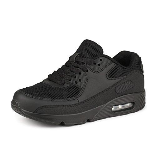 best-boots Unisex Damen Herren Sneaker Laufschuhe Turnschuhe Neu Schwarz 4 (fällt kleiner aus)