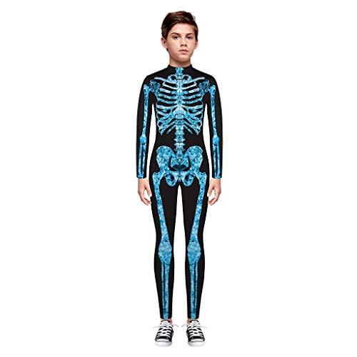 BaZhaHei Halloween Kostüm Kinder Teen Kinder Mädchen & Jungen Halloween Cartoon Skull Print Strampler Overall Kleidung Festival Cosplay Halloween Outfits - M&m Blauen Kleid Teen Kostüm