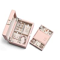 Vlando Jewellery Box Organisers Storage Cases for Girls Women - Faux Leather, Large Mirror and 2 Trays for Earrings Rings Necklaces Storage (Pink)
