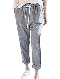 KOLY Donne Pantaloni casual a vita alta a strisce di moda Pantaloni Harem  lunghi pantaloni larghi 9898b449276