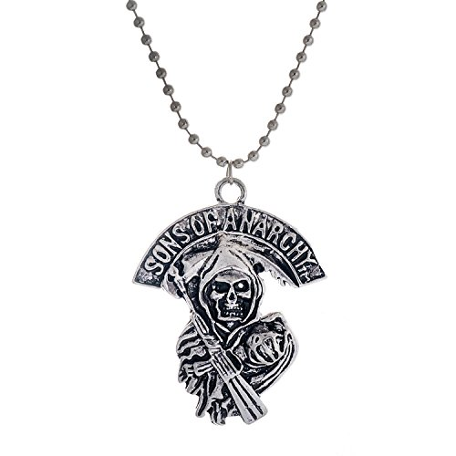 ck Antique Silber Legierung Schädel Shaped with Words Pendant Halskette (01003587) (Sons Of Anarchy Modeschmuck)