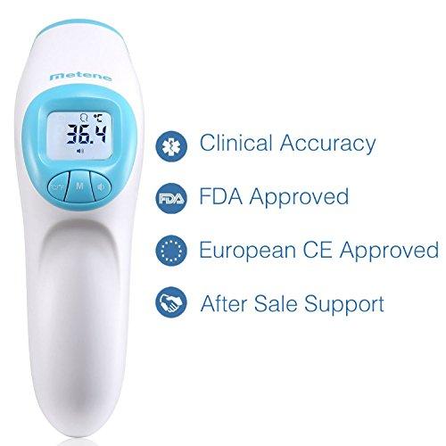Termómetro Metene frontal  sin contacto  aprobado CE y FDA. Adecuado para bebés  niños  adultos y objetos  con lectura inmediata.