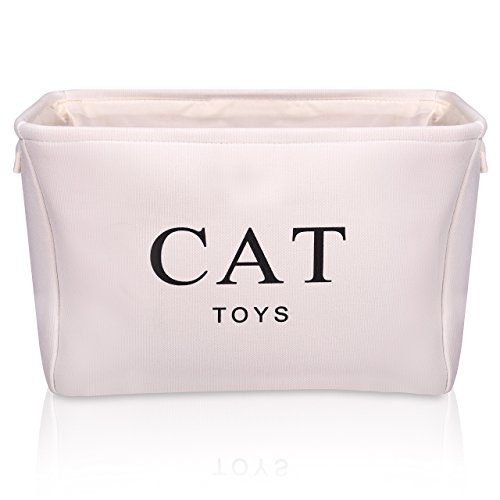 Cream Canvas Cat Toy Basket - High Quality Box for Cats Toy Storage. 40cms (16in) x 30cms (12in) x 25cms (10in)