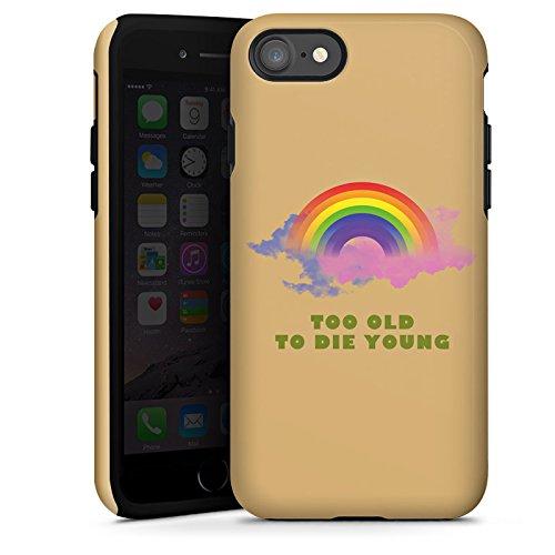 Apple iPhone X Silikon Hülle Case Schutzhülle Regenbogen Rainbow Leben Tough Case glänzend