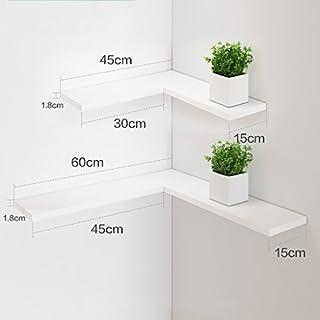 Montage Wand Ecke Regal Wandhalterung Floating Shelf TV Wand Rahmen (DIY Montage & Last 10KG) stapel (Farbe : Weiß)