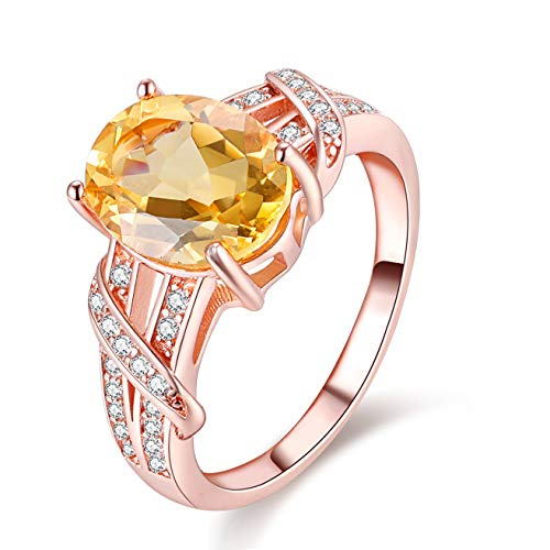 Uloveido Women's 925 Silver Sterling Silver Oval Cut 2.2ct Natural Citrine Yellow Crystal Split Shank Infinity Adjustable Solitaire Wedding Band Engagement Rings Rose Gold Plated FJ004 (2.2CT Citrin)