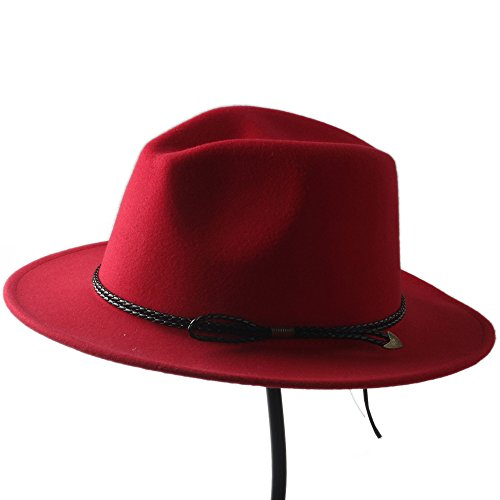 HUILIAN HATS Chapeau à la Mode, Laine Unisexe Hommes Chapeu Feminino Fedora Chapeau Gentleman Laine Large Bord Jazz Église Casquette Panama Fedora Top
