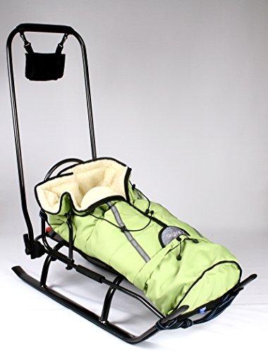 Slitta per bambini, 3 in 1, con schienale, sacco da piedi, maniglia a spinta e cintura in alluminio, Green+graphite