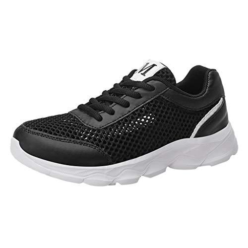 Damen Sportschuhe Mesh Atmungsaktives Sneaker Bequem Schnürer Laufschuhe Turnschuhe Straßenlaufschuhe Freizeitschuhe mit Snake Optik (EU:37, Schwarz)