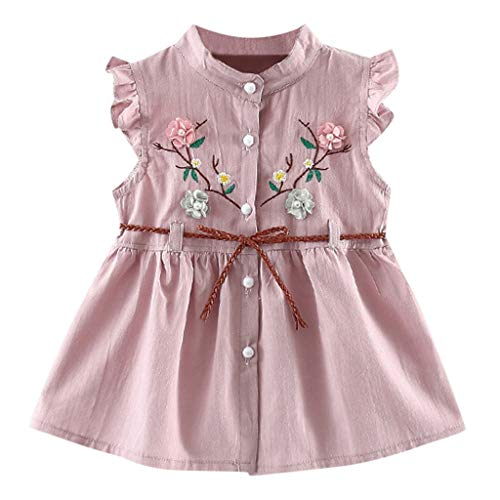 Cramberdy Baby Mädchen Ärmellos Rundhals Mode Kinder Tutu-Prinzessinkleid Blume Niedlich Kinder Mädchen Kleid Sommer Casual Bequem Strandkleid