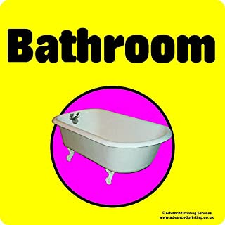 Advanced Printing Dementia Friendly Self-adhesive Bathroom sticker sign for Alzheimers and Partially Sighted (Large 220x220 mm)