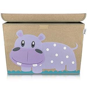Lifeney Aufbewahrungsbox Kinder 51 x 36 x 36 cm I Kiste mit Deckel für Kinderzimmer I Aufbewahrungsbox mit Deckel für Kindersachen I Boxen Aufbewahrung mit Tiermuster I Spielzeug Aufbewahrung (Hippo)